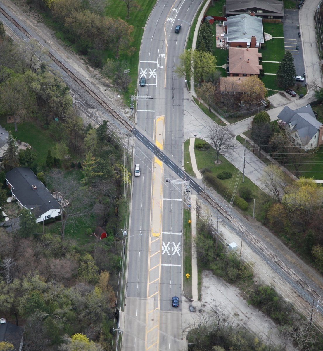 aerial of crossing